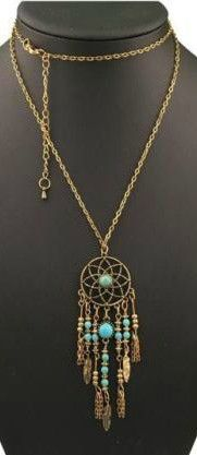 "Boho Retro Goldtone Chain Necklace Dreamcatcher Pendant with Blue Turquoise Colored Beads, feathers and Tassels Adjustable up to 19"" including pendant The Gypsy Willow pieces are in every way one-of-a"