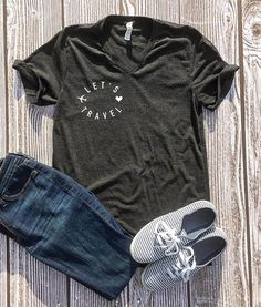 Let's Travel Shirt Funny Drinking Shirts, Travel Shirts, Vacation Outfits, Unisex Fashion, V Neck T Shirt, Trending Outfits, Let It Be, Adventure, Tees