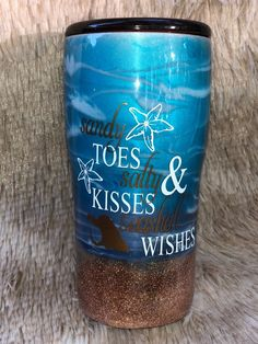 Beach Ocean Custom Epoxy Tumbler by CreationsByDianaD on Etsy Glitter Glasses, Glitter Cups, Glitter Tumblers, Mom Tumbler, Tumbler Cups, Tumbler Quotes, Vinyl Tumblers, Custom Tumblers, Christmas Tumblers