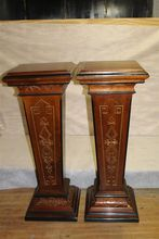Victorian Walnut with Ebony and Gold Incised Rare Pair of High Pedestals C.19th