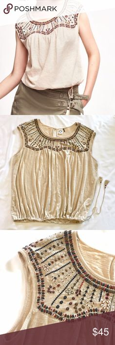 Anthropologie Akemi and Kim Top with Embroidery XL Short sleeve lightweight top from Anthropologie size XL. Anthropologie Tops