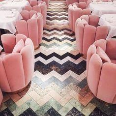 Pink suede chairs. @thecoveteur