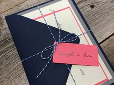 Navy Blue and Coral Wedding Invitation Shabby by decadentdesigns
