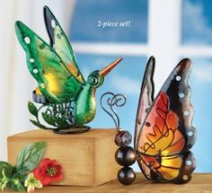 #30031 Butterfly and Hummingbird Candle Holders - Set of 2 by sensationaltreasures