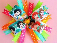DISNEY PRINCESS BOW. Princess Hair Bow. Princess Bow. by pixieclip