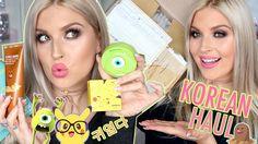 Korean Beauty Haul!  Pokemon Makeup Peel Off Masks DIY Brow Tattoo & More!