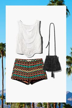 Short lace top, geometric jacquard-weave shorts, and fringed cross-body bag in faux suede.│ H&M Loves Coachella