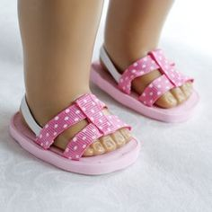 Doll sandals out of foam, ribbon and elastic