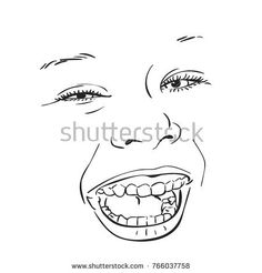 Sketch of happy laughing little girl face, Hand drawn vector illustration