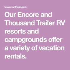 Our Encore and Thousand Trailer RV resorts and campgrounds offer a variety of vacation rentals. Stand Up Showers, Florida Campgrounds, Propane Fireplace, Florida Camping, Gas Bbq, Vacation Rentals, Glamping, Resorts