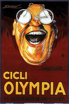 """indypendent-thinking: """"Achille Mauzan, Olympia cycles 1923 (by kitchener. Vintage Italian Posters, Vintage Advertising Posters, Vintage Advertisements, Vintage Ads, Poster Vintage, Olympia, Bike Poster, Poster S, Vintage Cycles"""