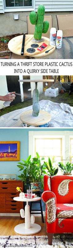 The remarkable story of how a thrift store plastic cactus was trasnformed into a chic side table - Plaster & Disaster