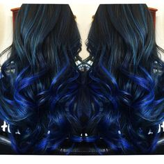Blue hair balayage ombre by Jessica @salonink