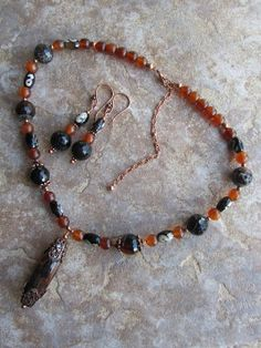 Agates Horn and Copper Necklace & Earring by PeaceofNatureJewelry, $50.00