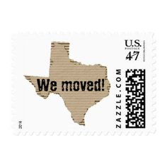 New Address / We moved / Texas cardboard box cut Postage Stamp