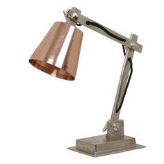 Bureaulamp Weybridge €67,95 17x13,5x44 cm Ruw Nikkel / Koper