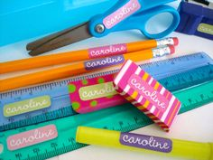 Tiny waterproof labels to label all your school supplies with a name. Choose from several colors and font combinations.