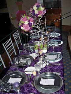 purple & silver wedding see the tree- - branch painted silver.