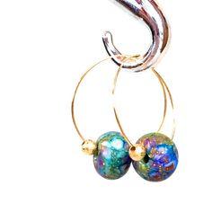 Delicate Hoop Earrings, gold hoop rainbow earrings lamp work glass... ($33) ❤ liked on Polyvore featuring jewelry, earrings, boho jewelry, yellow gold earrings, bohemian jewelry, boho earrings and earring jewelry