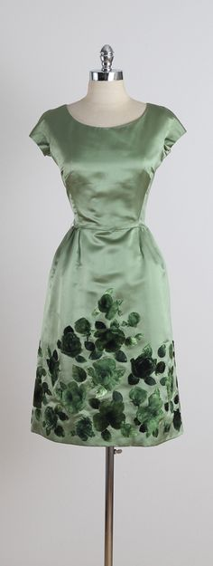 Vintage 1960s Harvey Berin Green Floral Silk Velvet Party Dress