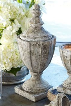 Cement Lidded Urn from Soft Surroundings