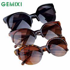 a2af48953c Charmdemon 2016 moda vintage gafas de sol retro cat eye semi rim gafas de  sol redondas para mujeres de los hombres gafas de sol jn23 en Gafas de sol  de Ropa ...