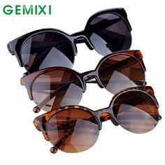 3882651150dca Charmdemon 2016 moda vintage gafas de sol retro cat eye semi rim gafas de  sol redondas para mujeres de los hombres gafas de sol jn23 en Gafas de sol  de Ropa ...
