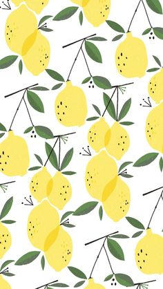 Lemons pattern. Tap to see more iPhone Wallpapers for Summer To Brighten Up Your Phone! Watercolor art pattern background. - @mobile9