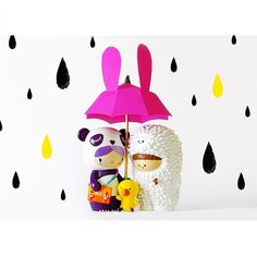 Treeson Momiji doll. Momiji are hand painted resin message dolls. Turn them upside down…inside every one there's a tiny folded card for your own secret message. #momijihq #momiji #dolls #momijidolls #cute #gift #rain #treeson