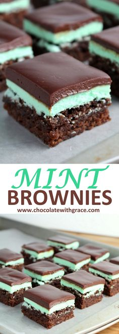 A fudgy mint brownie spread with a fluffy, mint buttercream and a rich, smooth chocolate ganache. Mint Brownies with Chocolate Ganache Mint Brownies Chocolate Ganache Brownie Recipes, Chocolate Recipes, Cookie Recipes, Dessert Recipes, Dessert Ideas, Brownie Ideas, Chocolate Snacks, Snacks Recipes, Dinner Recipes