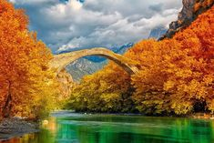 Konitsa Bridge, Ioannina, Greece, in autumn.