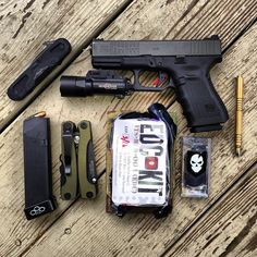 19 gen ultra, mag for a reload (ammo is 147 gr Federal hydra-shok), brass investigator pen, series edc med kit, ITS Tactical Urban Kit. Everyday Cutlery, Everyday Carry Items, Survival Prepping, Survival Gear, Survival Essentials, Bushcraft, Tac Gear, Edc Tools, Bug Out Bag