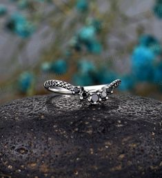 Black diamond Wedding band round cut curved wedding band woman   Etsy Curved Wedding Band, Diamond Wedding Bands, Antique Rings, Vintage Rings, White Gold Rings, Silver Rings, Anniversary Rings, Black Diamond, Woman