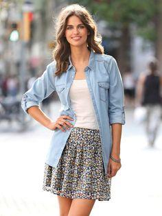Falda mujer con estampado de flores forrada con vuelo Short Skirts, Jeans, Denim Skirt, Jackets, Totalement, Genre, Outfits, Polyester, Black
