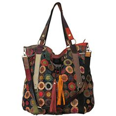 @Overstock - This multicolored handbag features an array of color-popping designs that will reflect the kaleidoscope of your spirit. Crafted in top-grain lambskin, this leather tote bag offer luxurious organization.http://www.overstock.com/Clothing-Shoes/Amerileather-Lloyd-Multicolor-Leather-Tote/4796986/product.html?CID=214117 $63.99
