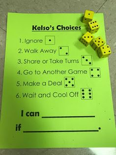Kelso's Choice non-verbal activity using die Calming Activities, Counseling Activities, Therapy Activities, Child Behavior Problems, Kids Behavior, Elementary School Counseling, School Counselor, Kelso Choices, Conflict Resolution Activities