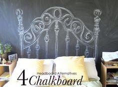 Chalkboard drawn-on headboard (using chalkboard contact paper) 10 Headboard Alternatives | A Fab Life