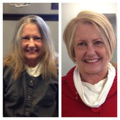 Before & After. Haircut by Natasha Kuptz, Color by Katelin Cairns. Duncan Edward- Progressive European Hair Design in Madison, Wisconsin www.duncanedward.com #duncanedward #womenshair #beforeandafter #bob #blonde #makeover #nogrey #highlights