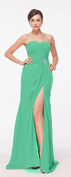 Green long prom dress with slit sexy prom gowns evening dresses for prom 2016