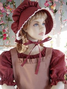 Items similar to New Girls Pioneer Prairie Dress Costume Choose your Size Burgundy on Etsy Pioneer Clothing, Pioneer Trek, Bonnet Hat, Dress Up Outfits, Red Gingham, Le Far West, Costume Dress, New Girl, Victorian Fashion