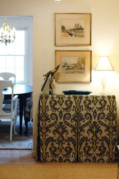 Love the yellow gray combination ikat print for both a pillow and possibly a skirt for the cutting table