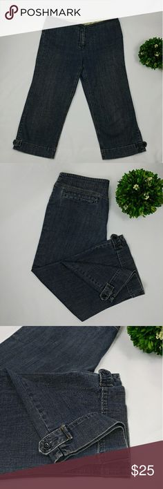 """CAbi jeans Crop Capri size 14 CAbi jeans crop capri pants In great gently used condition. Two back pockets Side decoration buttons on the legs Missing button inside the pants by the zipper. It still works good without it, with the hook (pictured) Measurements taken laying flat across: Waist 17.5"""" Hips 21"""" Inseam 22.5"""" Leg opening 10.5"""" Front rise 10"""" CAbi Jeans"""