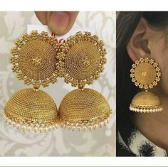 Women Gold Plated Indian Bollywood Fashion Party Ethnic Bridal Jhumka Earring for sale online Indian Jewellery Online, Indian Jewellery Design, Indian Jewelry, Jewelry Design, Jewellery Diy, Gold Jhumka Earrings, Indian Earrings, Women's Earrings, Diamond Jhumkas