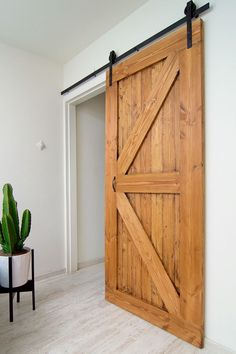 This Contemporary Sliding Interior Barn Door Blends Diy Door, Home And Living, Home Projects, Sweet Home, Bedroom Decor, Budget Bedroom, New Homes, House Design, House Styles