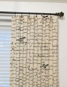 penmanship french script 3 rod pocket drapes by