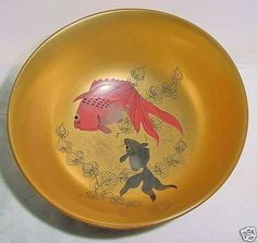 Sweet LACQUER WOOD Bowl CARP KOI Shôwa GOLD Japanese OLD Hand Painted SCRATCHES