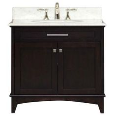 Manhattan 36 in. Vanity in Dark Espresso with Marble Vanity Top in Carrara White-MANHATTAN36 at The Home Depot