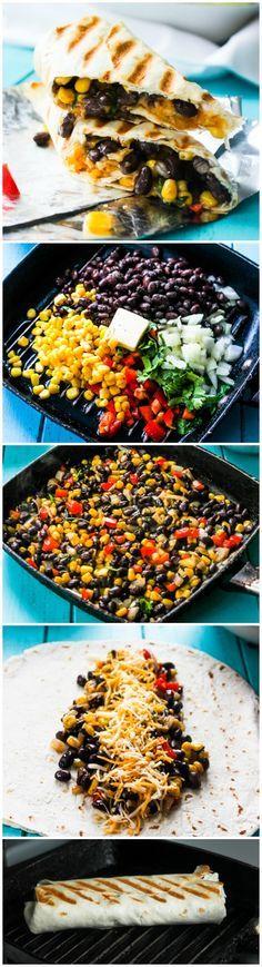 Quick and Easy Crispy Black Bean and Rice Burritos-- Use vegan alternative cheese