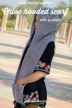 free crochet pattern chloe hooded scarf with pocket beginner friendly by jennyandteddy12