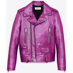 Saint Laurent Classic Motorcycle Jacket In Fuchsia Metallic Leather ($3,299) ❤ liked on Polyvore featuring outerwear, jackets, coats, leather, leather jackets, pink, pink jacket, purple jacket, pink motorcycle jacket ve leather jacket